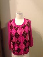 Talbots Cranberry Pink Argyle Pure Merino Wool Cardigan Sweater Large Petite EUC