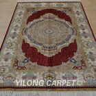 YILONG 4'x6' Handknotted Silk Area Rug Family Room Antistatic Carpet 0103