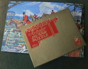 Victory Artistic Wood Jigsaw Puzzle Over The Fence Fox Hunting 200 pc Gold Box