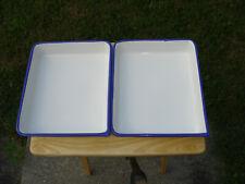 """(3)- Cesco 12""""X10"""" White Metal Enameled Tray Spout Photo Darkroom Printing"""
