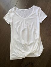 MAURICES Women's V-Neck White Twist Knot Front Short Sleeve T-Shirt Sz Small