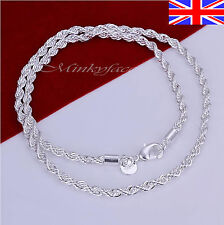 """Ladies 925 Silver Necklace Twisted Rope Chain Link 20"""" Free Gift Bag"""