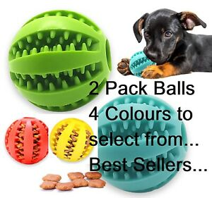 2 Pack Pet Ball Strong Rubber Dog Balls Fetch Food, Teething Treat Clean 3 Sizes