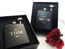2 Personalized Engraved Flasks Gift Box Groomsmen Groomsman Funnel Pinstripes