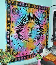Psychedelic Celestial Burning Sun Moon Hippie Tapestry Tie Dye Wall Hanging