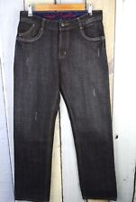 French Connection Mens Jeans Black Distressed Straight 34 x 33