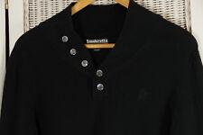 """LAMBRETTA Men's Black Cotton Jumper S 41"""" Chest Shawl Collar Pullover Mod Vespa"""