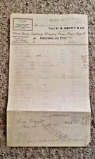 Vintage Billhead FH BROWN FIREWORKS & PIPES Greenfield MA 1905 nice product list