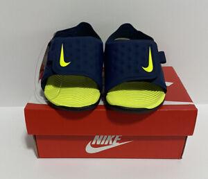 Nike Sunray Adjust 5 (TD) Sandal Midnight Navy / Lemon Venom Size 6c NEW In Box