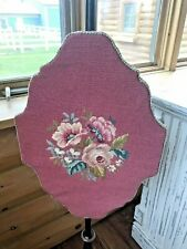 Antique Victorian Pole Fire Screen Tapestry Needlepoint