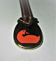 DOONEY & BOURKE ORANGE DUCK Hang Tag Purse Charm FOB on Brown Leather Strap EUC
