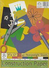 "Norcom 9"" X 12"" Construction Paper - 8 Colors, 40 Heavyweight Sheets"