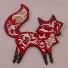 Embroidered Boho Bohemian Swirl Happy Red Fox Applique Patch Iron On Sew On USA