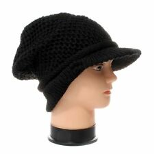 Black Knitted Jamican Style Visor Beanie - one size fits most