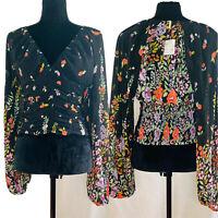 Free People Women's Black Flower Print Blouse V Neck Bishop Long Sleeve $98 NWT