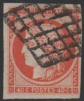 "FRANCE STAMP TIMBRE N° 5 a "" CERES 40c ORANGE VIF 1850 "" OBLITERE TB SIGNE"