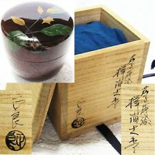 JAPAN LACQUERWARE Tea caddy Eggplant Aubergine Makie NATSUME Tea ceremony NT116