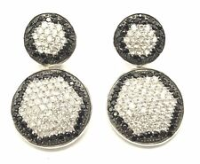 Sterling Silver 925 Black Onyx - CZ Cluster Round Circles Drop Dangle Earrings
