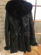 Toto  Black Hooded Genuine Shearling Lamb Fur Shimmer Coat Sz S