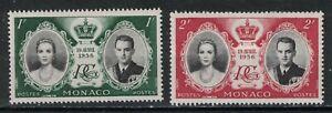 MONACO:1956 SC#366-67 MH Wedding of Prince Rainier III to Grace Kelly T283