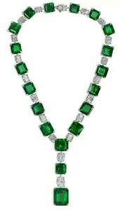 Statement Single Line Tennis Necklace Green Asscher Sim Diamond Red Carpet Jewel