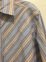 R&G 100% Cotton Contrast Cuffs Long Sleeve Button Front Shirt Mens Size Large