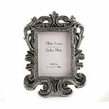 CraftbuddyUS Mini 11cm Baroque Rectangular Silver Vintage Photo Frame Wedding