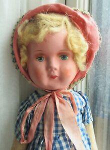 "Vintage Dressed Cloth Girl LENCI DOLL 1930s Blonde Hair Blue Eyes 18"""