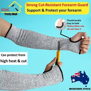 A pair cut resistant forearm arm guard support heat industrial protector proof 3