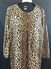 Nick & Nora Pajamas Leopard Cheetah One Piece Cat Footed Zipper Fleece Med