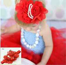 Flower Floral Red Headbands Hair Accessories Band Toddlers Baby Girls Children