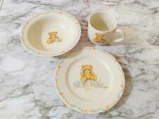 Hallmark Baby Keepsake Teddy Bear Dishes 3 Pc Serving Set Plate Bowl & Cup