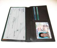 Black Genuine Leather Checkbook Cover Organizer Men's Cowhide Organizer Wallet