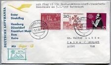 FFC 1959 Lufthansa PRIMO VOLO LH 630 Super G - Amburgo Roma Il Cairo