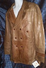 MENS MED SOFT LEATHER COAT JACKET BROWN WILSONS LEATHER TRENCH BUTTON FRONT NWT