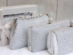 Silver Real Crystal Diamante Sparkly Gift Boxed Wedding Clutch Purse Handbag Bag