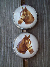 Bridle Rosettes Horse Head pair white background glass face new