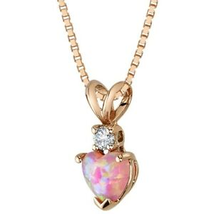 """Created Pink Opal with Genuine Diamond Pendant in 14K Rose Gold Heart Shape, 18"""""""