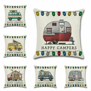 Ornate HAPPY CAMPERS Sofa Waist Throw Cushion Cover Pillow Case Home Decations