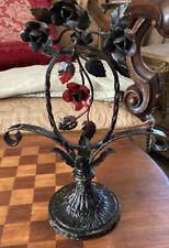 Vintage cast iron base Lamp patina art deco Lacy Scrolls Floral Paint