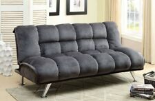 Futon Sofa Bed Convertible Couch Sleeper Lounger Tufted Gray Microfiber