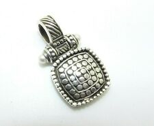 """ESTATE STERLING SILVER SQUARE HINGED PENDANT PEARL TIPS 1.5"""""""