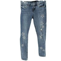 Lucky Brand Stella Skinny Women's Jeans Size 6/28 Stars Embroidered Distressed