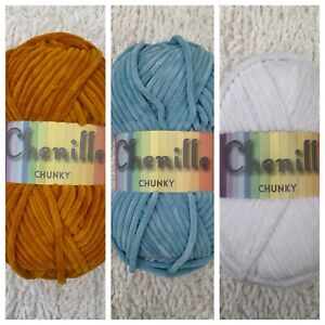 Chenille Chunky Yarn Wool 100g Ball Knitting Crochet Craft Cygnet Super Soft