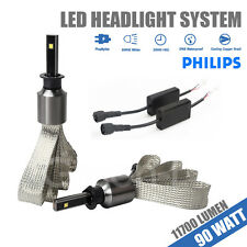 H1 90W 11700LM 6000K White PHILIPS LED CHIP Headlight Kit High or Low Beam Light