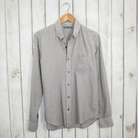 VINCE Men's Designer Medium Button Down Shirt Gray Striped Cotton Long Sleeve