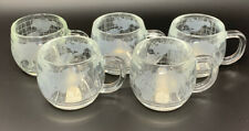 Set of 5 Nestle Nescafé World Globe Mugs Etched & Frosted Glass Coffee Cups 3074