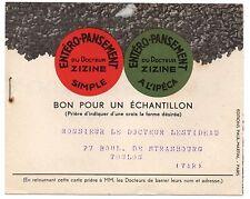 Carte publicitaire des Laboratoires ZIZINE - Paris 12eme (bon pour échantillon