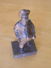 Antique Black Forest Inri Hand CArved Wood Sculpture Man with Bag& Hat on Book