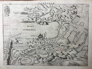 Italy Naples Pozzuoli 1627 Pozzuolo Campania Napoli ruins by Hondius antique map